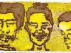 Elena, Jimi y yo quemando la lámpara de media noche amarillo, 2012. Aguatinta al azúcar